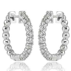 75 Ct Round Cut Diamond Hoop Earrings in 18 kt. Clip Mounts Jewelry