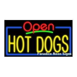 Open Hot Dogs Neon Sign
