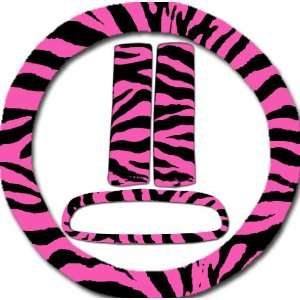 Hot pink and black zebra steering wheel cover, seat belt covers and