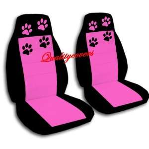 2 Black and Hot Pink seat covers for a 2006 to 2012 Chevy