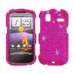 Hot Pink CRYSTAL RHINESTONE DIAMOND BLING COVER CASE 4 HTC