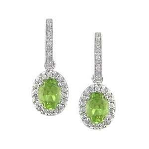 14K White Gold 2/5 ctw Diamond and Peridot Huggie Earrings Jewelry