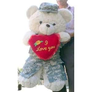 ARMY LOVE BEAR   3 FEET TALL GIANT JUMBO BIG PLUSH TEDDY BEAR STUFFED