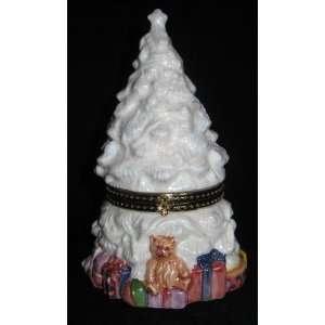 Christmas Tree Ceramic Hinged Keepsake Trinket Box
