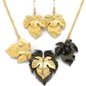 Fancy Gold Tone and Hematite Leaves Leaf Pendant Statement Necklace