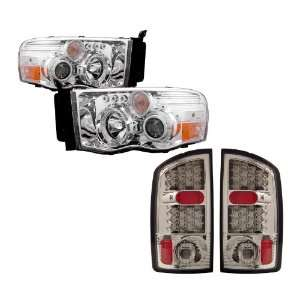 Chrome LED Halo Projector Headlights /w Amber + LED Tail Lights Combo