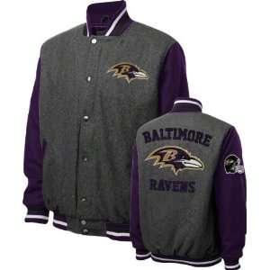Baltimore Ravens Grey Wool Varsity Jacket  Sports