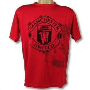MANCHESTER UNITED SOCCER OFFICIAL BLACK POLY T SHIRT SZ