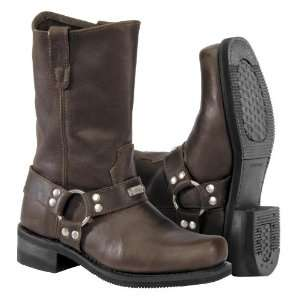 River Road Mens Square Toe Studded Harness Leather Motorcycle Boots