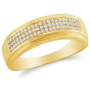 Size 5   10K Yellow Gold Diamond Three Rows MENS Wedding Band Ring   w