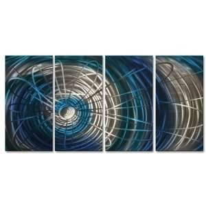 Blue Electric Expansion III Metal Wall Art Hand sanded