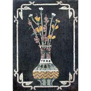 24x32 Flower Mosaic Art Tile Mural Wall Decor