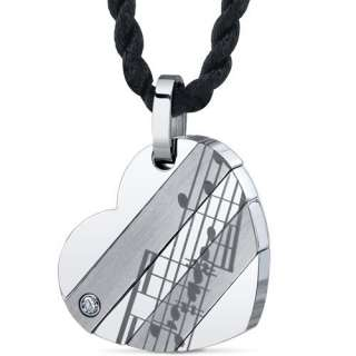 Heart of Music Stainless Steel Musical Note Heart Pendant