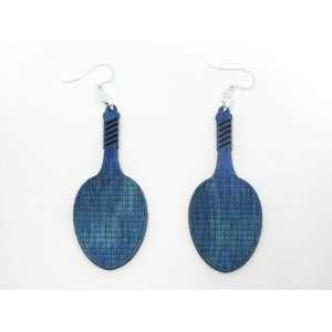 Aqua Marine Tennis Racket Wooden Earrings: GTJ: Jewelry