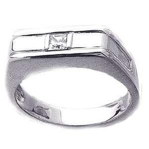 0.14Ct. 14K. White Gold Princess Cut Diamond Mens Ring Jewelry