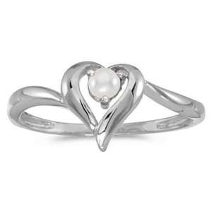 10k White Gold June Birthstone Pearl Heart Ring Jewelry