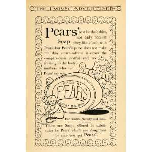 1895 Ad Pears Skin Soap Great Britain Baby Bathing
