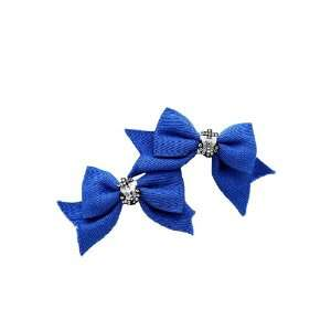 Blue Ribbon Bow Bling Anchor Hair Clips 2 Pack Beauty