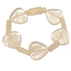 Quartz Bracelet 19 Stretch Rose Heart Clear Pink Gem Stone Crystal 7