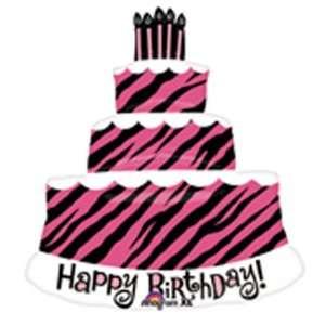 Triple Layer Cake Pink Zebra Birthday Decoration Balloon Toys & Games