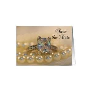 Save the Date Princess Cut Diamond Ring and Pearls Card