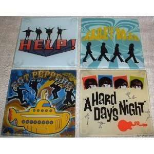 Radio Days The Beatles Rock and Roll Music Glass Coasters, Set of 4