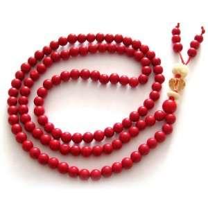 Red Coral Beads Tibetan Buddhist Prayer Japa Mala Necklace Jewelry