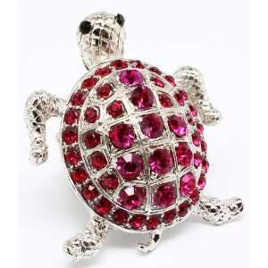 Turtle bling red Crystals Cocktail ring