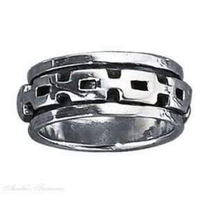 Silver Mens 7mm Wide Band Chain Link Spinner Ring Size 13: Jewelry
