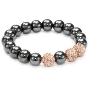 Very Me PARIS Rose Gold Swarovski Crystal Smoked Agate Silver Tone