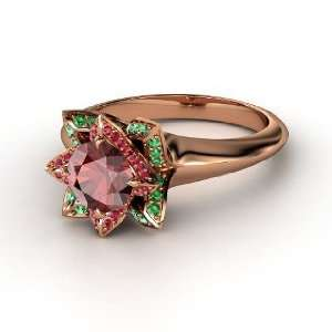 Ring, Round Red Garnet 18K Rose Gold Ring with Ruby & Emerald Jewelry