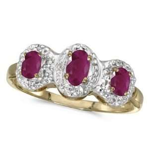 0.75tcw Oval Ruby and Diamond Three Stone Ring 14k Yellow