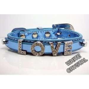 Small Baby Blue Metallic Leather with Swarovski Grade Crystal Collar