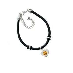 Softball in Heart Black Charm Bracelet Arts, Crafts