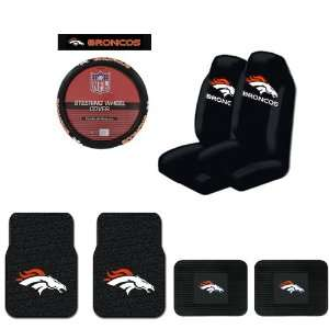 Seat Covers, and a Comfort Grip Steering Wheel Cover   Denver Broncos