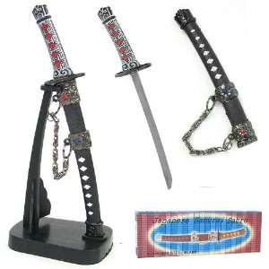 Japanese Samurai Sword Letter Opener with Stand