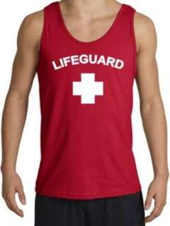 Lifeguard Tanktop Muscle Beach Tee Tank Top Shirt   Red Clothing