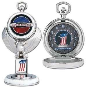 Franklin Mint Harley Davidson Super Glide® Pocket Watch Set B20ZY59