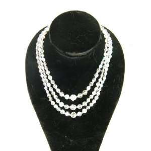 Triple Strand Crystal Beaded Necklace England 18 inch 1118