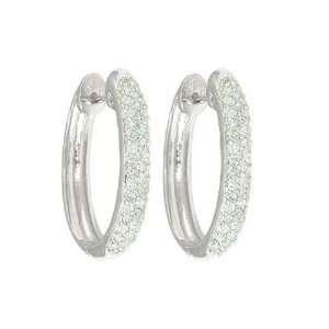 14k White Gold Oval Pave Diamond Hoop Earrings (1/2 cttw, I J Color