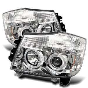 Nissan Titan Armada 04 07 Halo LED Projector Headlights Chrome w/ FREE