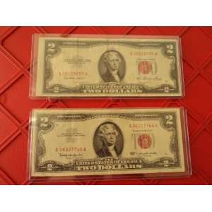 Set of 2 Red Seal $2 Bills (1953, 1963) By Nicky Nice