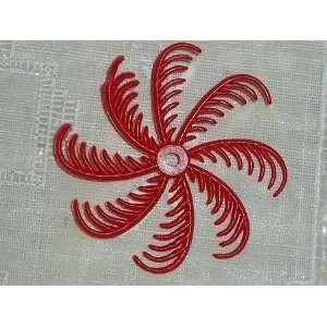 Vintage Red Plastic Whirlygig Flower Bead 40mm Arts