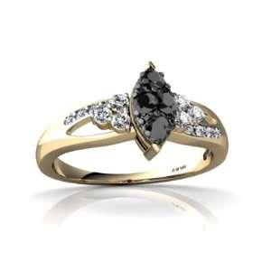 14K Yellow Gold Black Diamond Antique Style Ring Size 5.5