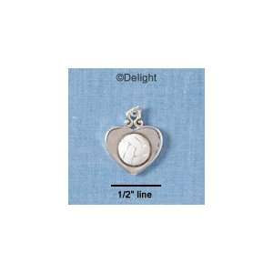 C1907 tlf   Volleyball in Heart   Silver Plated Charm