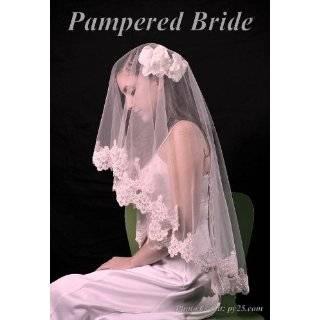 Ivory Lace Mantilla Bridal Wedding Veil Headpiece 53x73
