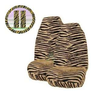 Brown Zebra Tiger Print Front Bucket Seat Cover, Steering Wheel Cover