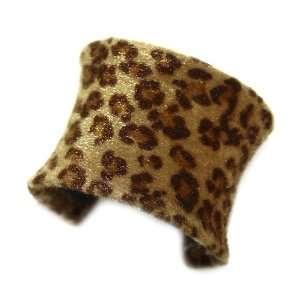 Leopard Print Cuff; 2.25L; Brown Leopard Print Faux Fur Jewelry