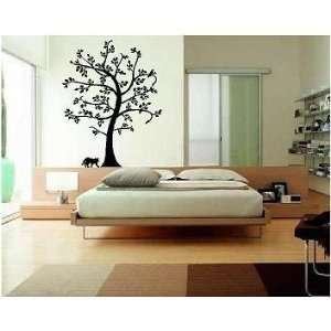Bird, Cat, Tree Vinyl Wall Art Decal, White