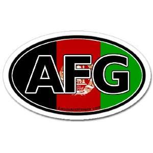 Afghanistan AFG and Afghan Flag Car Bumper Sticker Decal